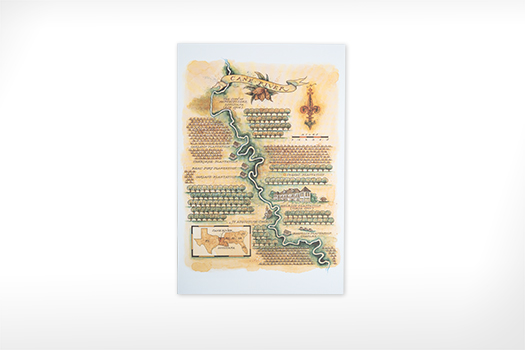 Cane River Watercolor Map Print by Mike Reagan
