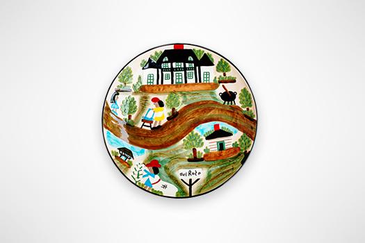Round Serving Platter Depicting